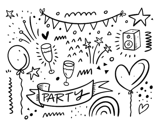 Happy bithday and party doodles set collection.