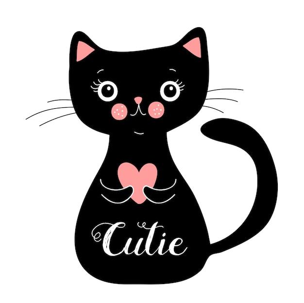 Happy black cat character, vector illustration eps 10
