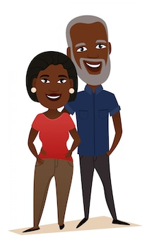 Happy black middle aged couple isolated