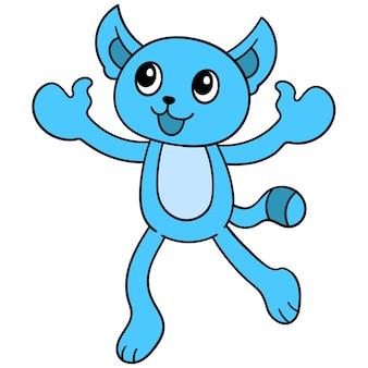 Счастливый синий кот прыгает, чтобы его обняли, векторная иллюстрация искусства. каракули изображение значка каваи.