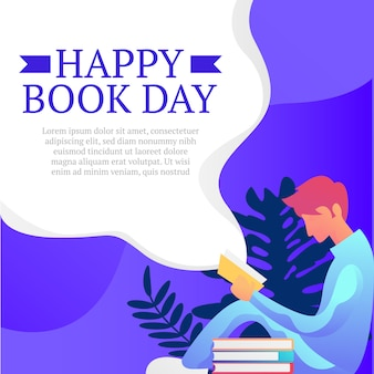 Happy book day background with man sit read illustration