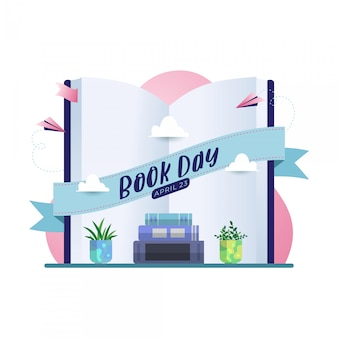Happy book day vector background