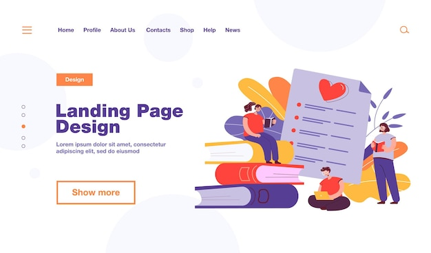 Happy book readers ranking books flat  illustration. cartoon characters reading textbooks and making top list. modern literature and textbook quality concept
