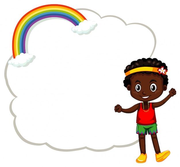 Счастливый мальчик и рамка с облаками