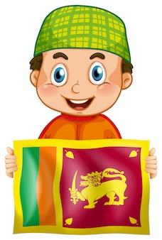 Счастливый мальчик и флаг шриланки