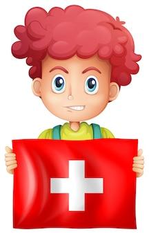 행복 한 소년과 스위스의 국기