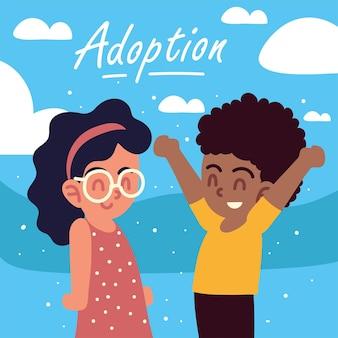 Счастливое усыновление мальчика и девочки