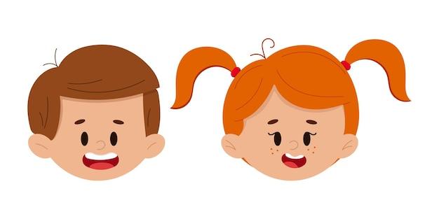 幸せな男の子と女の子の顔は、白い背景で隔離を設定します。かわいい子供のアバター-子供の頭のアイコン。フラットなデザインのカルティインスタイルのベクトル図です。