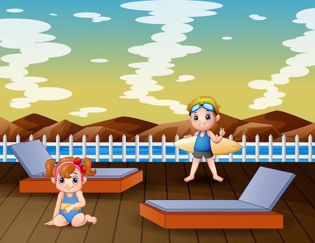 桟橋のイラストで幸せな男の子と女の子