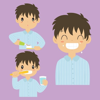 Happy boy brushing teeth activity cartoon vector collection.
