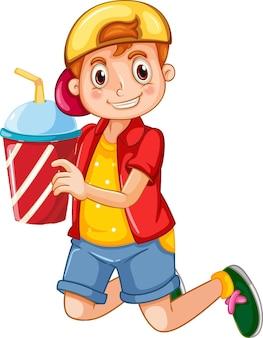 Счастливый мальчик мультипликационный персонаж, держащий пластиковый стаканчик напитка
