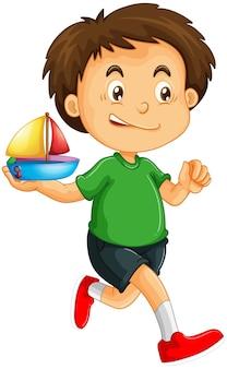Personaggio dei cartoni animati ragazzo felice che tiene una nave giocattolo