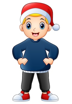 Happy boy cartoon wearing christmas cap