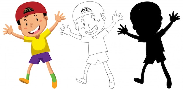 Happy boy in color and in outline and its silhouette