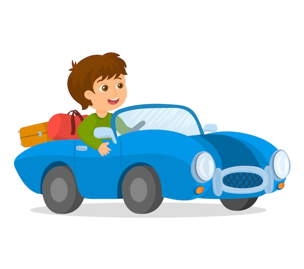 Happy boy driving a car