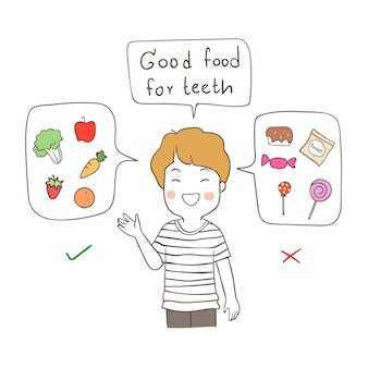 Happy boy explain about good food for teeth