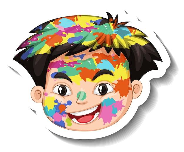 白い背景の上の彼の顔のステッカーに色で幸せな少年の顔