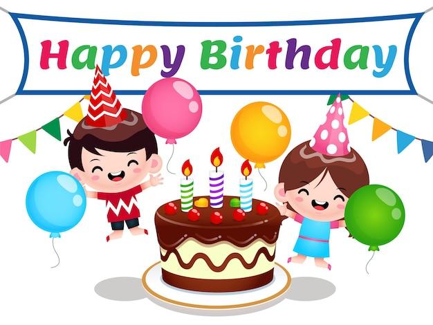 Happy boy and girl around birthday cake