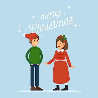 Happy boy and girl celebrate winter holiday and wearing winter clothes greeting card