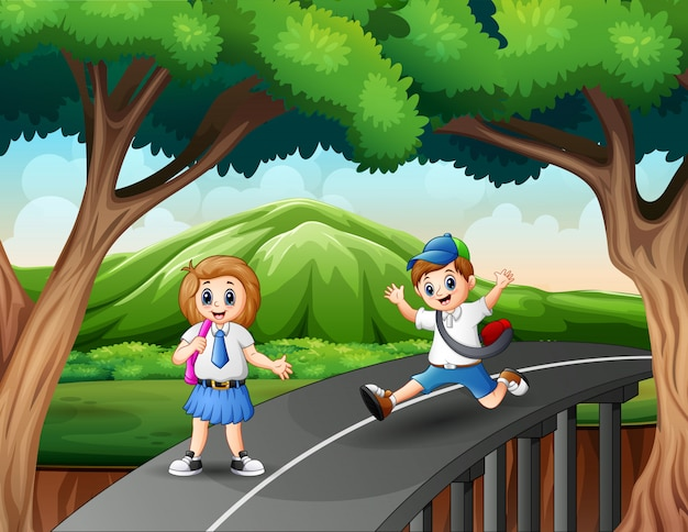 Happy boy and girl going home after school