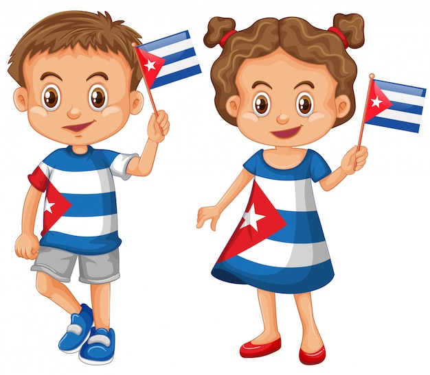 Happy boy and girl holding flag of cuba