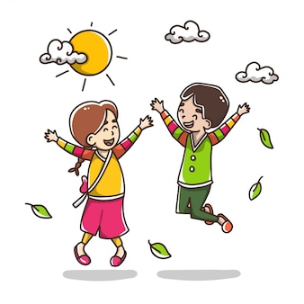 Happy boy and girl jumping illustration
