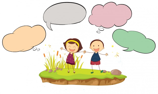 Happy boy and girl with speech balloon