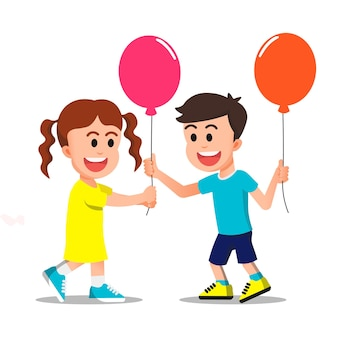 A happy boy gives a balloon to his friend