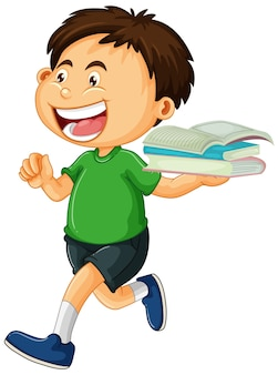Happy boy holding books isolated
