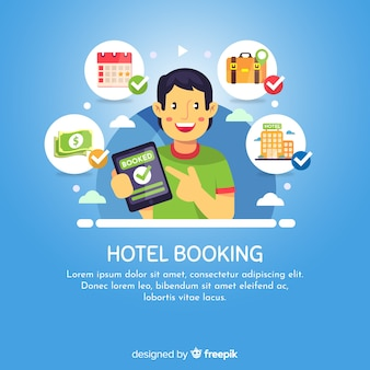 Happy boy hotel booking background
