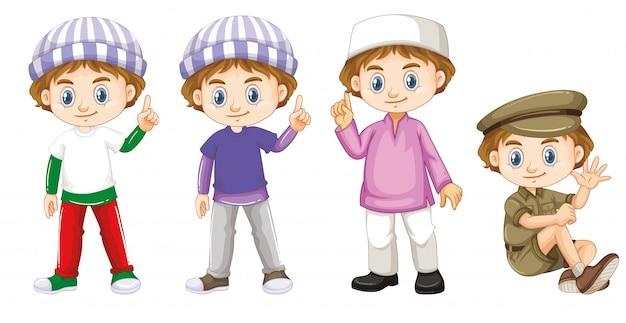 Счастливый мальчик в четырех разных костюмах