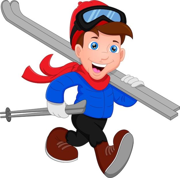 Счастливый мальчик катается на лыжах, мальчик идет с лыжным снаряжением