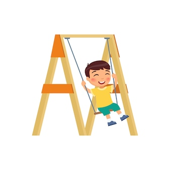 Happy boy is swinging on a swing. vector illustration