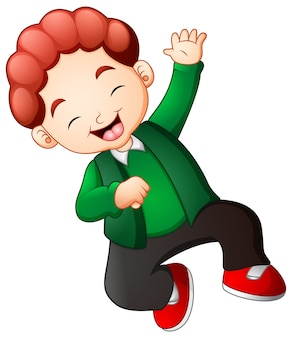 Happy boy jumping in green clothes