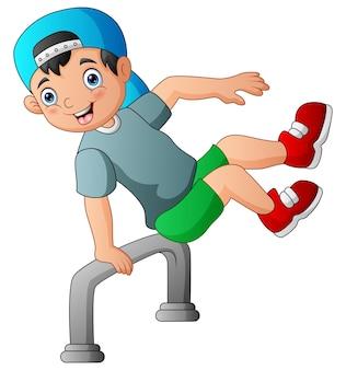 Счастливый мальчик прыгает через железную иллюстрацию