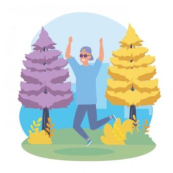 Счастливый мальчик прыгает с повседневной одежды и солнцезащитные очки Бесплатные векторы