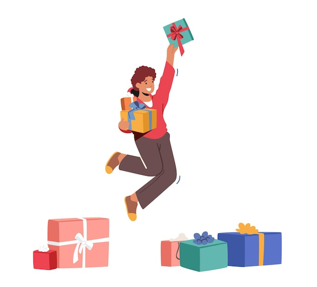 手に贈り物を持ってジャンプする幸せな少年、うれしそうな子供は白い背景で隔離の誕生日やクリスマス休暇のお祝いのために多くのプレゼントを手に入れました。幸福、楽しさの概念。漫画のベクトル図