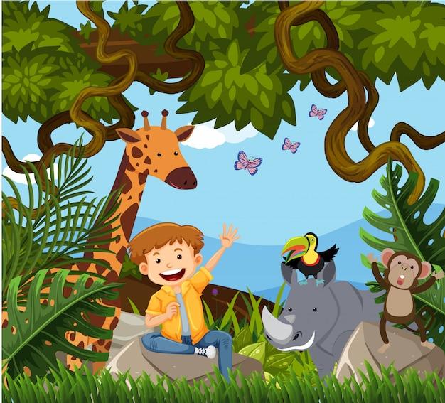 A happy boy in jungle