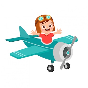 Happy boy kid play toy fly plane