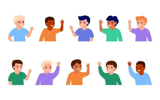 Happy boy kids waving hands hello smiling little children greeting welcome or goodbye gesture