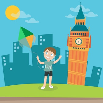 Happy boy launches kite in london.