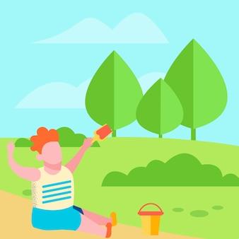 Happy boy досуг на открытом воздухе мультфильм плоский баннер