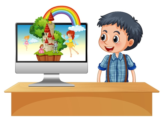 Счастливый мальчик рядом с компьютером с феей на экране рабочего стола