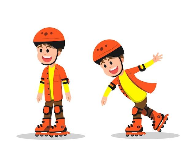 いくつかのポーズでローラースケートをしている幸せな少年