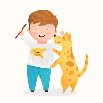 彼の犬と遊んでいる幸せな少年、かわいい小さな子供と子犬の友達が一緒に楽しい時間を過ごしています。面白い笑う子供と子犬のキャラクターの子供の漫画。水彩風の漫画で描く。