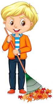 Happy boy raking leaves isolated