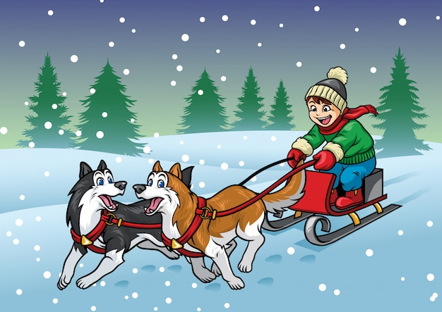 Happy boy riding the sleigh with huskies dogs