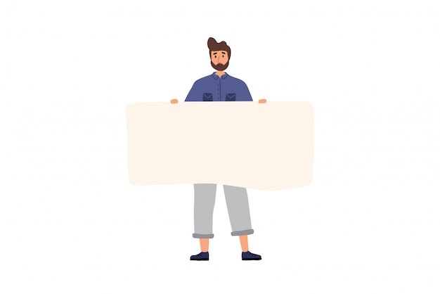 Happy boy standing and holding blank banner. flat cartoon colorful  illustration