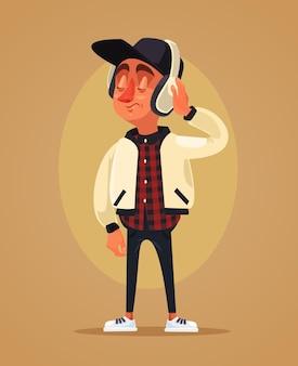 Happy boy teen character listening music flat cartoon illustration