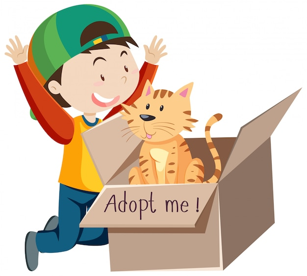 A happy boy wearing cap with cute cat in a box cartoon isolated